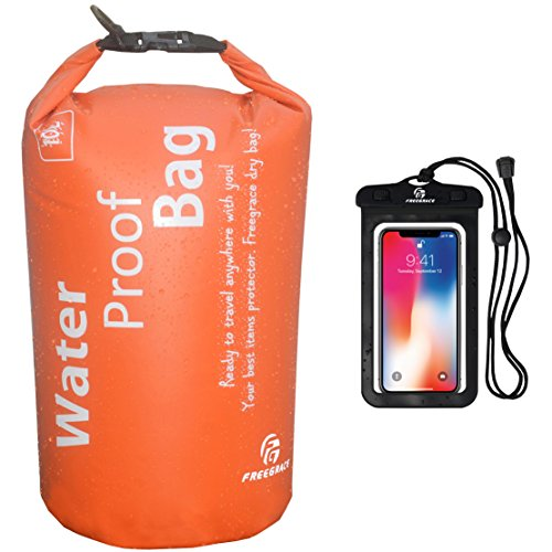 Sacks Food - Freegrace Waterproof Dry Bag - Lightweight Dry Sack with Seals and Waterproof Case -Float on Water -Keeps Gear Dry for Kayaking, Beach, Rafting, Boating, Hiking, Camping and Fishing (10L, Orange)
