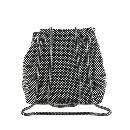 Women Girls Crystal Rhinestone Mini Bucket Evening Bags Handbags Wedding Clutch Shoulder Purse Party (black) -