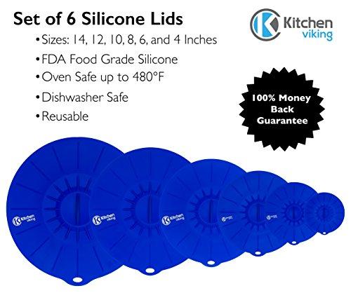 KitchenViking Set of 6 Silicone Suction Lids - 6 Sizes