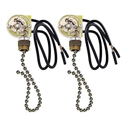 Fan-Light and Pull Chain Switch, Electrical Pull Chain Switch,ON-OFF, 6 A/125V AC, 6 inch Wire Terminal
