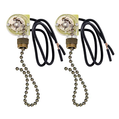 2 Pack Fan-Light Switch & Pull Chain, Electrical Pull Chain Switch,ON-Off, 6 A/125V AC, 6 inch Wire Terminal (Antique Brass Pull Chain)