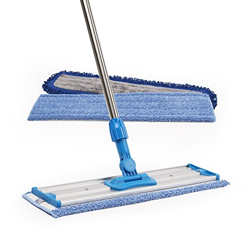 18'' Professional Microfiber Mop | Stainless Steel Handle | 3 Premium Mop Pads + 2 FREE Microfiber Cloths by Microfiber Wholesale