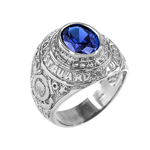 September CZ Birthstone US Coast Guard Men's Ring in Solid 925 Sterling Silver (Size 14)