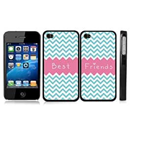 Friendship Best Friends Chevron Zig Zag Pink Snap-On Cover with WHITE Carrying Case for iPhone 4/4S - Set of 2 Cases