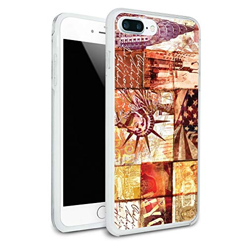 New York City Statue Liberty Tile Collage Protective Slim Fit Hybrid Rubber Bumper Case for Apple iPhone 7 Plus