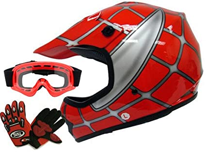 TMS Youth Kids Red Spider Net Dirt Bike Atv Motocross Helmet W/goggles/gloves