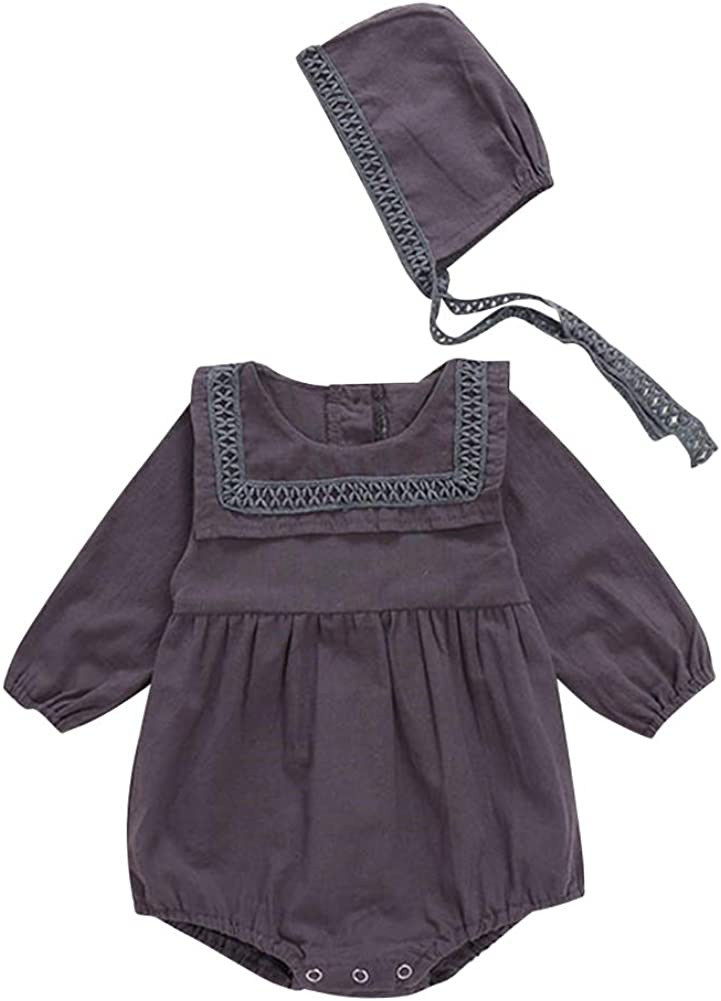 BOBORA Infant Baby Girls Long Sleeve Solid Cotton Rompers Bodysuit with String Hats for 0-24 Months