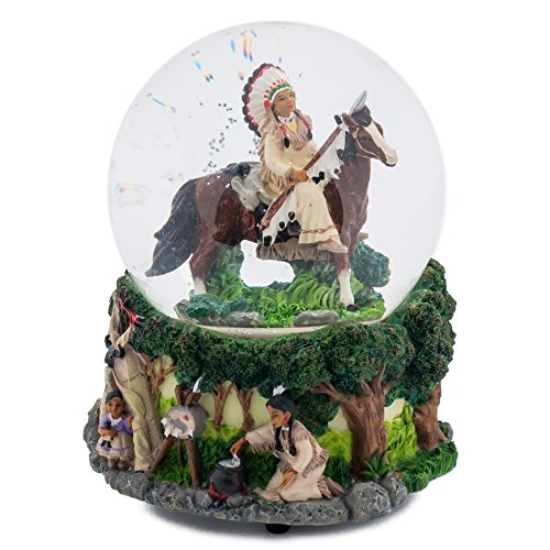 Elanze Designs Native American Chief 100MM Music Water Globe Plays Tune Free As The Wind
