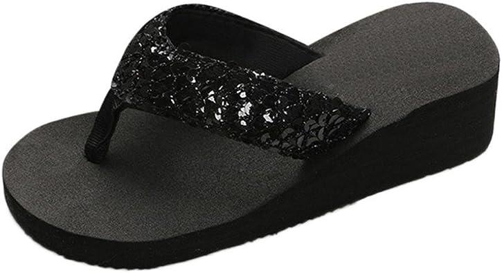 Chanclas Mujer, Xinantime Flip Flop para Mujer Sandalias Antideslizantes con Lentejuelas de Verano Zapatilla Interior y Exterior Flip-Flops: Amazon.es: Zapatos y complementos
