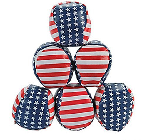 Patriotic Stars & Stripes Hacky Sacks (Set of 12) 4th of July Party Favors by Fun Express