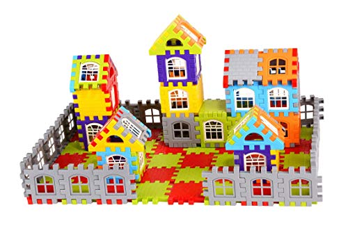 AdiChai Multi Colored 72 Pcs Mega Jumbo Happy Home House Building Blocks with Attractive Windows and Smooth Rounded Edges – Building Blocks Toys and Games for Kids (72 Blocks) – Blocks Game