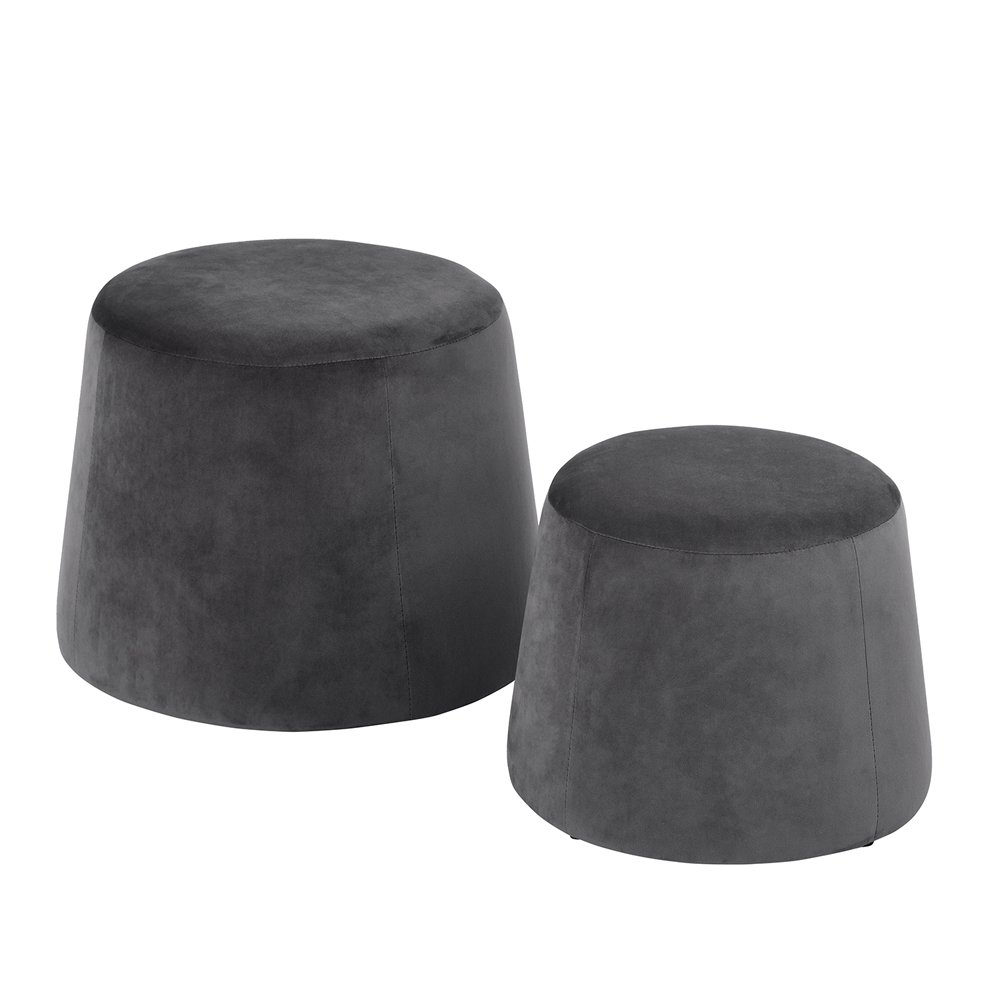 ASUUNY Set of 2 Two Size Modern Round Ottoman with Velevt Fabric, Grey ALFO