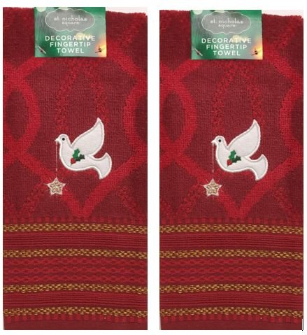 (St. Nicholas Square 2-Pack Cotton Red Embroidered Doves Heavy Duty Holiday Decorative Fingertip Towels)