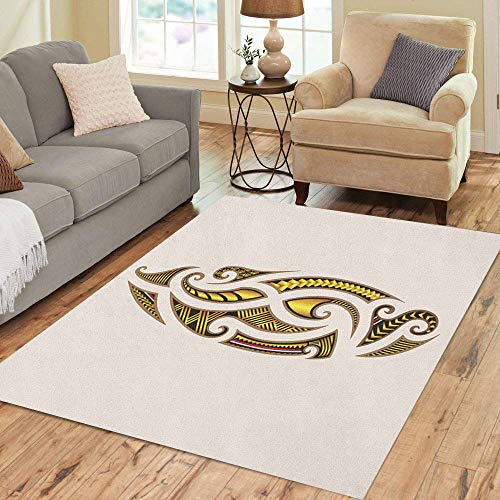Semtomn Area Rug 2' X 3' Abstract Tattoo Tribal Maori Designs Arm Back Black Body Home Decor Collection Floor Rugs Carpet for Living Room Bedroom Dining Room