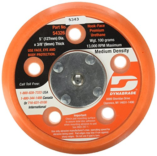 Dynabrade 54326 5-Inch Diameter Hook-Face Short Nap 3/8-Inch Thick Urethane Medium Density 5/16-Inch-24 Male Thread Vacuum Disc Pad, - Diameter Face
