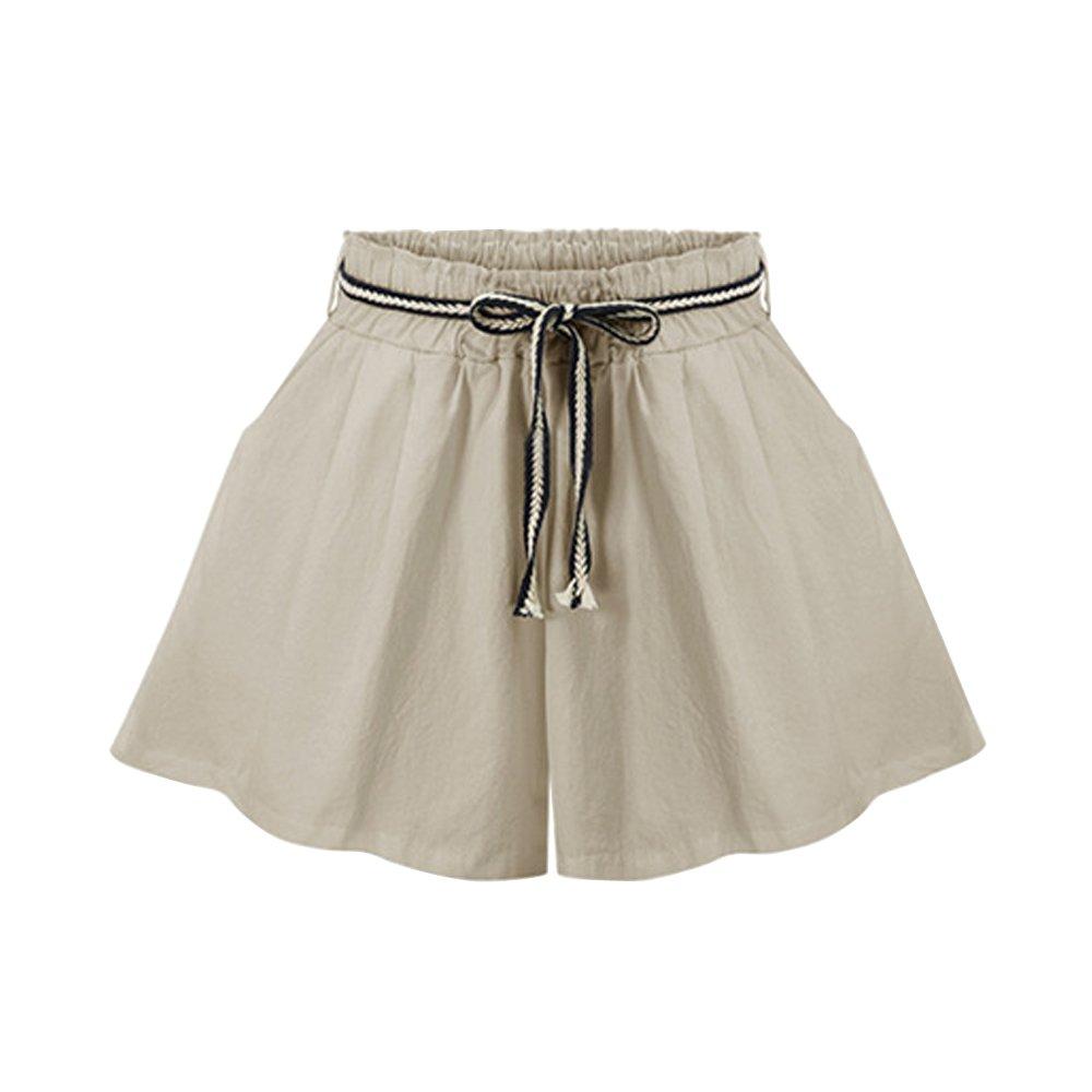 Women's Elastic Waist Casual Loose Wide Leg Beach Shorts Khaki Tag 4XL-US 14