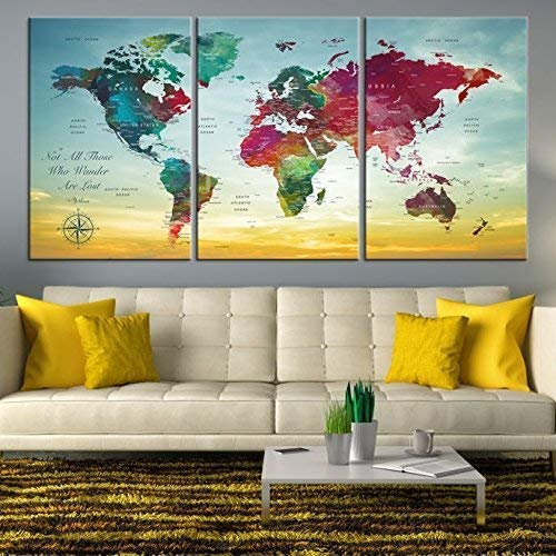 (Turquoise World Map Wall Art by My Great Canvas | 3 Piece Multi Panel X-Large Hanging Canvas Print for Home Decor | Track Your Travels with This Colorful Antique Looking Map | Framed & Ready to Hang,)
