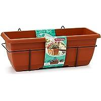 Plastic Forte - Jardinera para balcón con Plato y Soporte de metálico, 50 x 20 x 17,5 cm Macetero de plástico para…