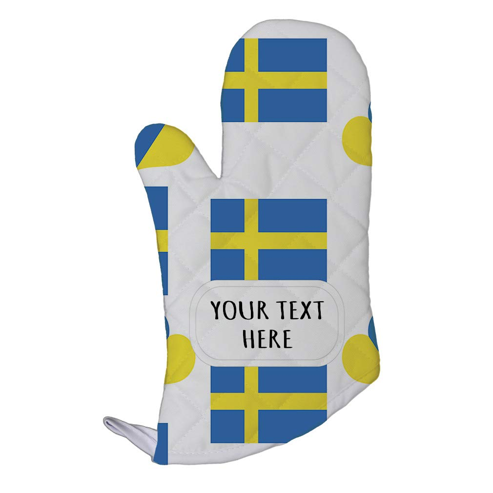 Style In Print Polyester Oven Mitt Custom Sweden Country Flag Heart Pattern Adults Kitchen Mittens