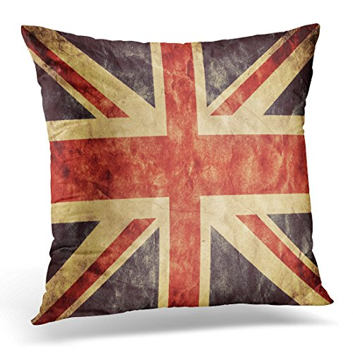 VANMI Throw Pillow Cover the United Kingdom Union Jack Grunge Flag Vintage Retro Style High Resolution Hd Item From My Collection Decorative Pillow Case Home Decor Square 20x20 Inches Pillowcase (Jack Union Flag History)