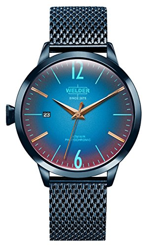 Welder Moody Stainless Steel Blue Mesh 3 Hand Watch with Date 38mm