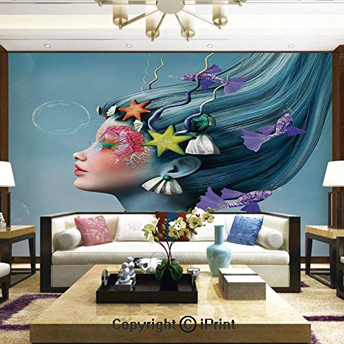 Lionpapa_mural Removable Wall Mural Ideal to Decorate Bedroom,or Office,Woman with Underwater Themed Make Up Hairstyle Starfishes Seashells Fishes Bubbles,Home Decor - 100x144 inches