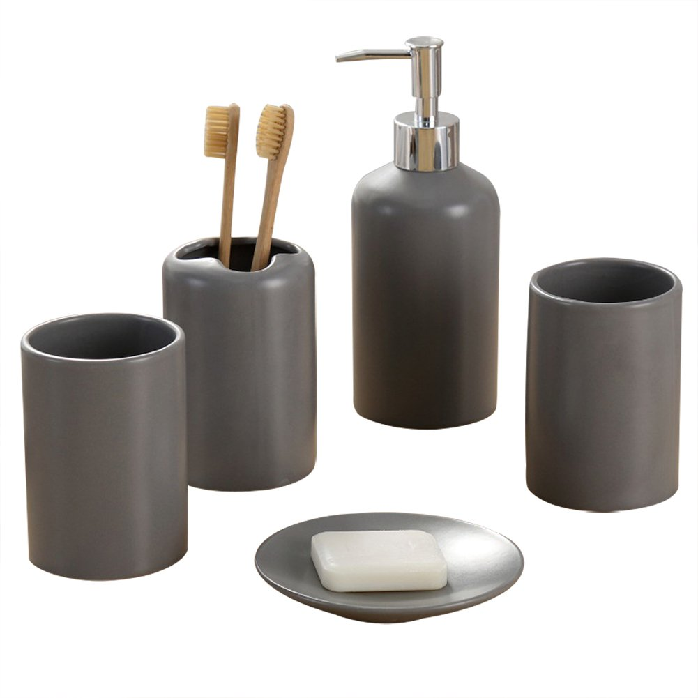 NarwalDate 5 pieces Bathroom Toiletries Accessory Set, Includes Decorative Countertop Soap Dish & Dispenser, Tumbler, Toothbrush Holder (Gray)