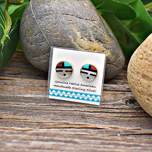 8mm Genuine Stone Zuni Sunface Stud Earrings in 925 Sterling Silver, Turquoise and Coral, Authentic Native American Handmade in the USA, Nickle Free
