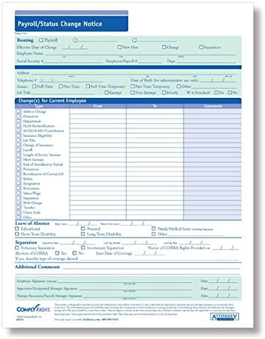 ComplyRight Payroll Status Change Notice 50PK