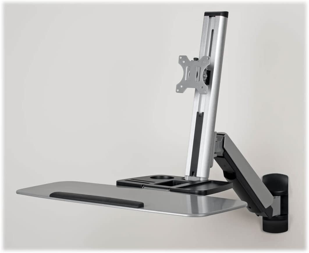 Tripp Lite Wall Mount for Sit Stand Desktop Workstation Height-Adjustable Standing Desk, Single Display (WWSS1332W),Silver