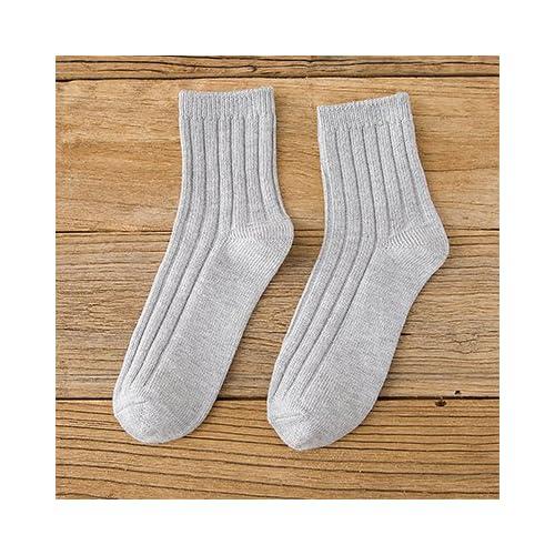 Maivasyy 4 paires de chaussettes Tube court femme automne et de sports d'hiver femmes court Couleur solide Coton Chaussettes, gris