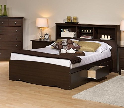 Prepac Manhattan Bookcase Platform Storage Bed in Espresso Finish-Queen - Queen