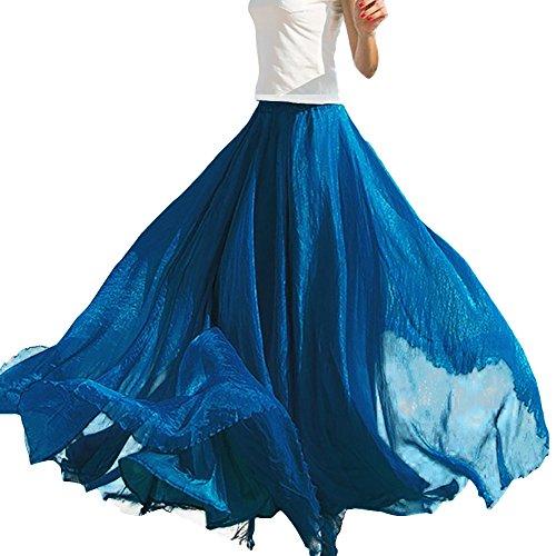 Plage Bleu Simple Jupe Rtro Longue Party Femmes de lgante Casual Eleery Classique Cocktail Bohme Mousseline Vintage Uni Maxi Soie Pliss XqHUXxw