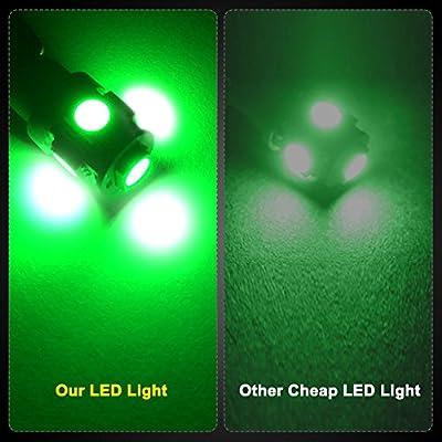 YITAMOTOR 10PCS T10 Wedge 5-SMD 5050 Green LED Light Bulbs W5W 2825 158 192 168 194 12V DC: Automotive