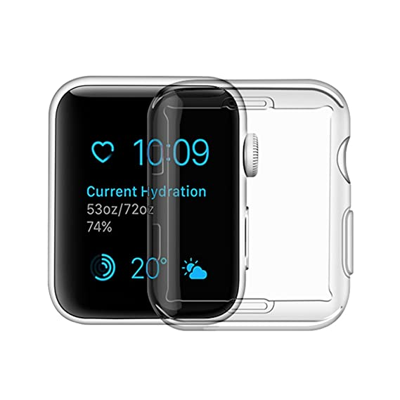 online retailer 845bc dc821 Apple Watch Series 3 Case, iphone Watch 3 TPU Screen Protector All-around  Protective 0.3mm Hd Clear Ultra-thin Cover (for Apple Watch Series 3 38mm)