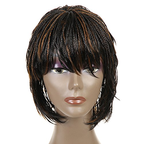 FeiBin Synthetic Box Braid Wigs African American Bob Braided Wigs 12(Color 1B/27)
