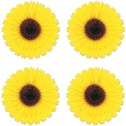 Beistle S50276AZ4 4 Piece Sunflower Fans, 18'' , Yellow/Brown