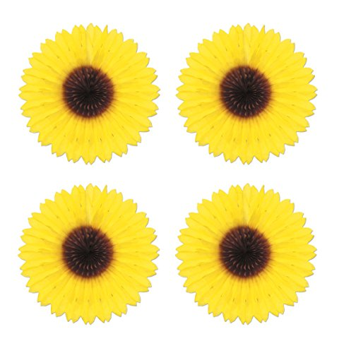 Beistle S50276AZ4 4 Piece Sunflower Fans, 18'' , Yellow/Brown