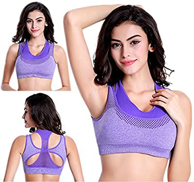 BRABIC Women's Double Layer Sports Bras Top Padded High Impact Sports Bra Pack of 3