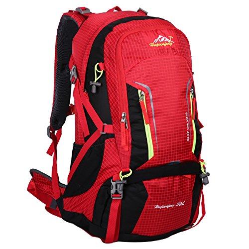 HWJIANFENG 50L Mochilas de Senderismo Hombre Portatil Impermeable de Nilon Mochilas de Excursion para Viajes Mochilas Unisex de Ciclismo color Naranja Rojo