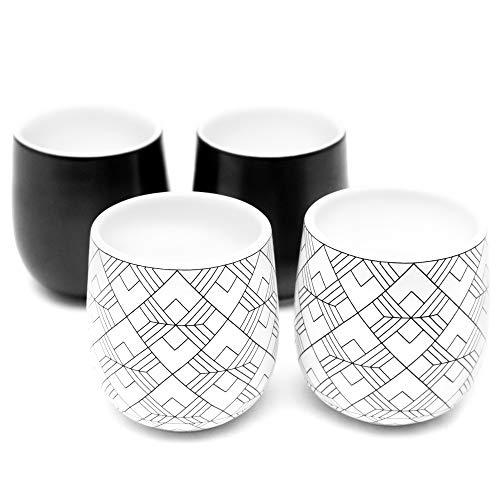(Dobbelt Set of 4 Double Walled Espresso Cups, 2 Ounce - 2 Black and 2 Square Pattern - Insulated Ceramic Espresso Mugs - Modern, Contemporary, Art Deco Design - Box Set - By Kop & Hagen)
