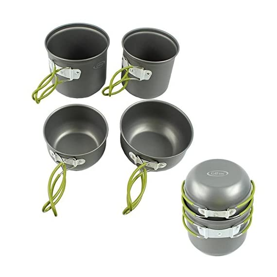 G4Free Hiking Cookware Mess Kit Outdoor Camping Cooking Picnic Bowl Pot Pan Set 1 HIGHEST QUALITY/EASY CLEAN - FDA approved Non-Toxic anodized aluminum pot and frying pan ,easy to clean. BEST PRICE/SAVE MONEY - Package includes one Non-stick pan pot bowl spoon set, Mini Stove with Piezo Ignition.A mesh bag was included as a gift. This outdoor cooking set is designed perfectly for one or two people. Easy Packing & Taking:All the objects in this cooking set can be stored together in a mesh bag for space saving and convenient carry.