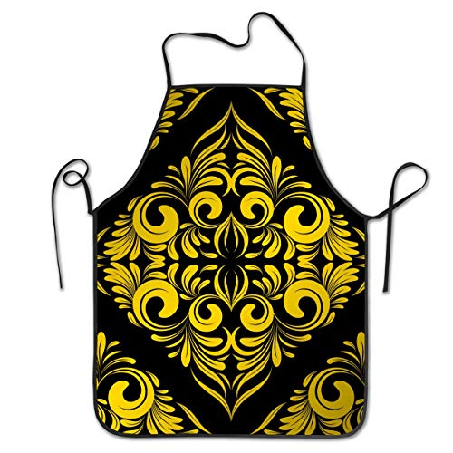 Cureably Seamless Wallpaper Damask Pattern Floral Background Personalized Bib Apron Professional Embroidery Durable Unisex Suitable for Kitchen Baking