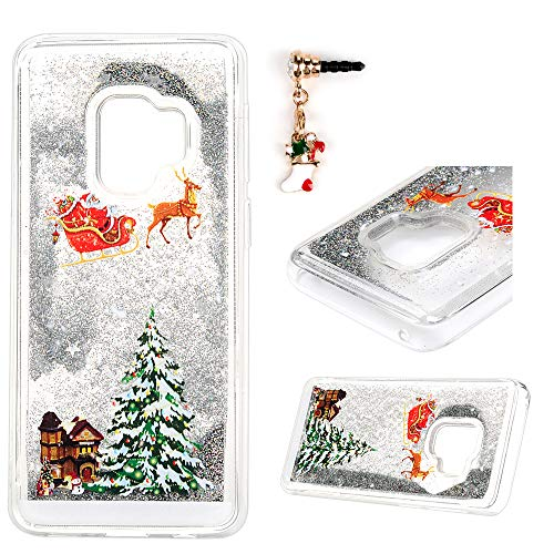 Galaxy S9 Case, S9 Cover Quicksand Liquid Clear Hard PC Skin 3D Flowing Snowflake Christmas Tree Slim Creative Shell for Samsung Galaxy S9, Pink (3 Finish Snowflake)