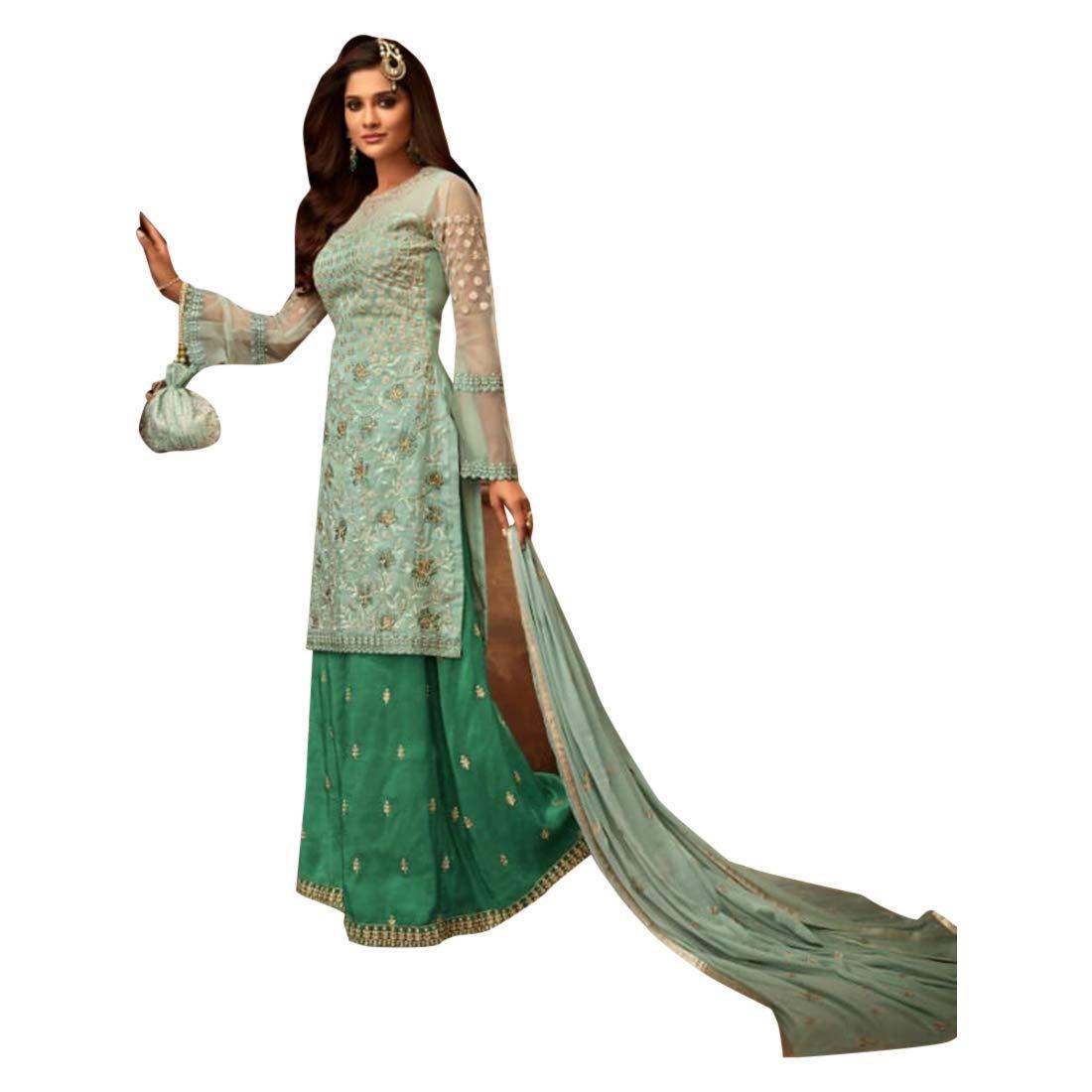 Stylish Festive wear Designer Sharara Salwar Kameez Suit with Heavy Embroidery Ethnic Muslim dress 7748