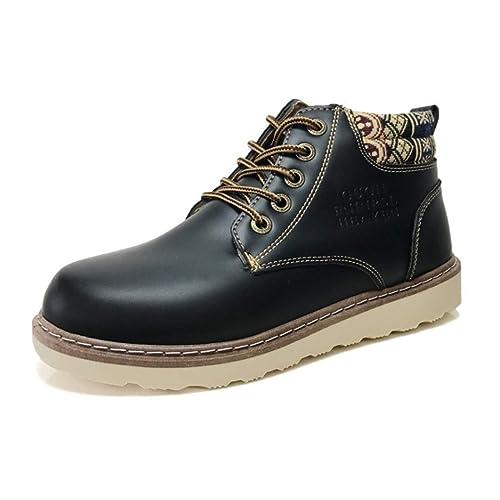 PUWEN Botas de Trabajo de Cuero de los Hombres del Dedo del pie Suave construcción Suela de Goma Zapatos Casuales Martin Boots Botas de Herramientas Cortas: ...