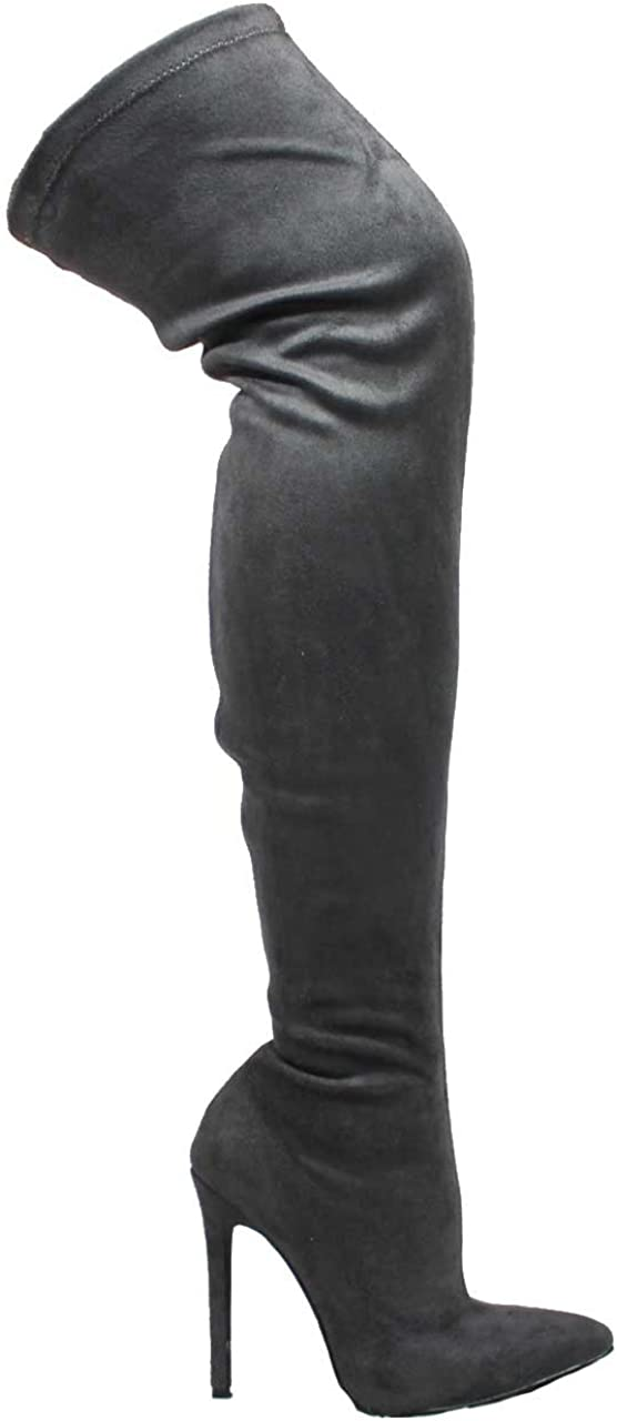 Liliana GISELE-7 Black Stretch Faux Suede Stiletto Heel Thigh High Boot