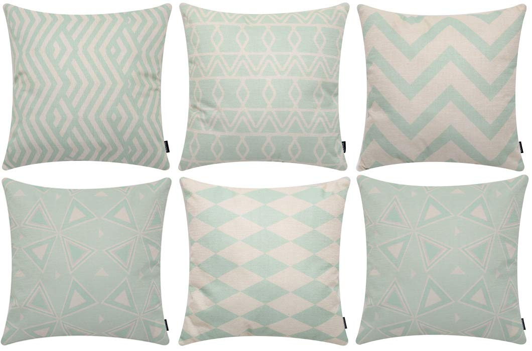 Sooyee 6 Pack Durable Cotton Linen Square Decorative Throw Pillows Covers,Green and Beige Cushion Cases Pillowcases for Sofa 18 x18 inch Set of 6