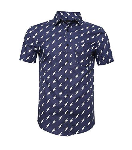 TOPORUS Mens Casual Shirt Printed Short Sleeve Button Down Shirts Navy Lightning L