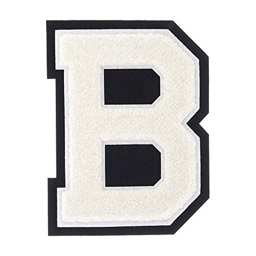 B - White on Black - 4 1/2 Inch Heat Seal/Sew On Chenille Varsity - Jacket Varsity Patches